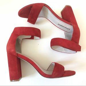 Red Suede Block Heel Ankle Strap Sexy Sandal Heels